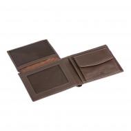 Portafoglio da uomo in pelle con portamonete adatto per carta d'identità DV