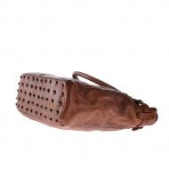 Borsa lavata in pelle tinta in capo da donna con borchie DUDU