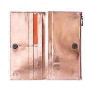 DUDU Portafoglio Donna Grande in Vera Pelle con Bottone Magnetico e Zip Design Sottile Porta Carte