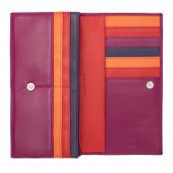 DUDU Portafoglio Donna Pelle Design Colorato Lungo con Portamonete Zip 18 Porta Carte e Chiusura a Bottone