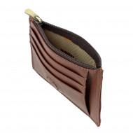 Nuvola Pelle Portafoglio Porta carte di credito Sottile Slim in Vera Pelle con Cerniera Zip Portamonete