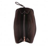 Portafogli donna in pelle visutta vintage zip around con borchie DUDU