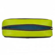 DUDU Astuccio Portapenne Portamatite Grande in Vera Pelle Multicolore con Cerniera Zip