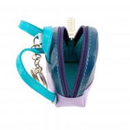 DUDU Portachiavi a Zainetto Colorato in Vera Pelle Multicolore con Portamonete e cerniera zip Doppio anello