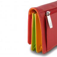 DUDU Portafoglio donna RFID Schermato in Vera Pelle multicolore a bustina con Portamonete e Chiusura a bottone
