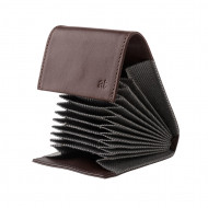 Antica Toscana Porta carte di credito in Vera Pelle a Soffietto Fisarmonica con 11 scomparti e chiusura a bottone