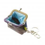 DUDU Portamonete e Portachiavi colorato in Vera Pelle con chiusura Clic Clac e doppio gancio per le chiavi