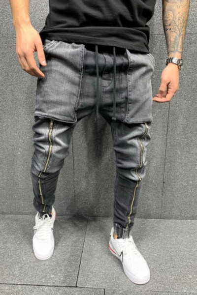 Blugi cu tur Long Zipper grey B5606