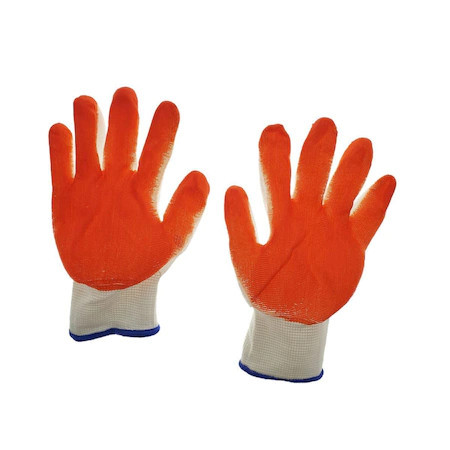 Manusi de protectie universale,material textil si PVC,albe cu portocaliu,M