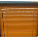 Jaluzea orizontala material PVC, culoare maro, imitatie lemn,dechis, L80cm x H 140 cm