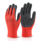 Manusi de protectie Flores FS-13258 , material textil si PVC , rosu-gri, L