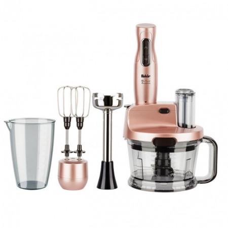 Mixer vertical Fakir Mr. Chef Quadro, 1000 W, Tocator 1,5l, Teluri inox, Tija cu 4 lame inox, Vas 900 ml, Roz - PRODUS NOU RESIGILAT