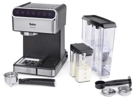 Espressor de cafea Fakir Babila, 15 bari, 1350W, Rezervor apa 1,8L, Rezervor lapte 0,5L, Functioneaza cu cafea macinata si poduri tip ESE, Panou Touch, Carcasa Inox