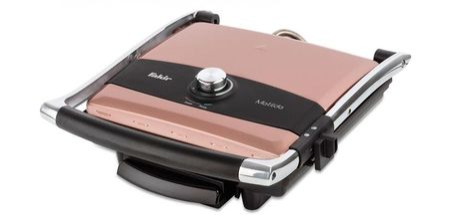 Sandwich-maker Fakir Matilda, 2000 W, Reglare temperatura, Inox, Placi antiaderente, Roz/Negru