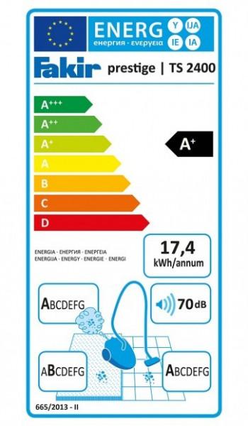Aspirator cu sac Fakir AirWave TS2400, A+AA, Fabr. in Germania, Filtru ULPA anti-alergii, 500 W, 70dB, Sac 4.5 l, Perie parchet, Tub telescopic, Rosu/Negru
