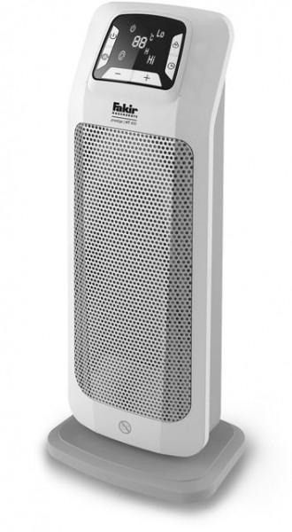 Aeroterma ceramica turn Fakir HT 400, 2000 W, 2 trepte de putere, Termostat reglabil electronic, Afisaj LED, Telecomanda, Protectie la supraincalzire, Alb lucios