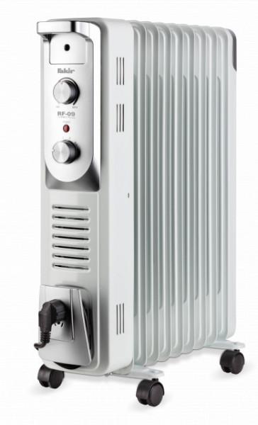 Calorifer electric Fakir RF-09 Turbo Plus, 2400 W, 9 elementi, 4 trepte de putere, Termostat de siguranta, Termostat reglabil, Ventilator, Suport uscare rufe, Gri