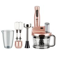 Mixer vertical Fakir Mr. Chef Quadro, 1000 W, Tocator 1,5l, Teluri inox, Tija cu 4 lame inox, Vas 900 ml, Roz