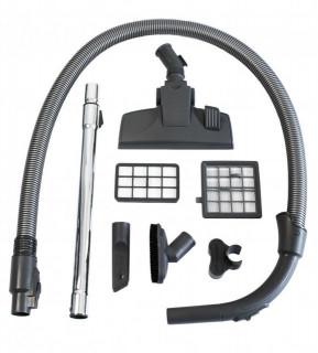 Aspirator fara sac Fakir Clyde, 1 l, Tub telescopic metalic, 750 W, Filtru EPA, Rosu/argintiu