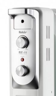 Calorifer electric Fakir RF-11 Turbo Plus, 2900 W, 11 elementi, 4 trepte de putere, Termostat de siguranta, Termostat reglabil, Ventilator, Suport uscare rufe, Gri