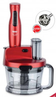 Mixer vertical Fakir Mr. Chef Quadro, 1000 W, Tocator 1,5l, Teluri inox, Tija cu 4 lame inox, Vas 900 ml, Rosu