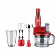 Mixer vertical Fakir Mr. Chef Quadro, 1000 W, Tocator 1,5l, Teluri inox, Tija cu 4 lame inox, Vas 900 ml, Rosu
