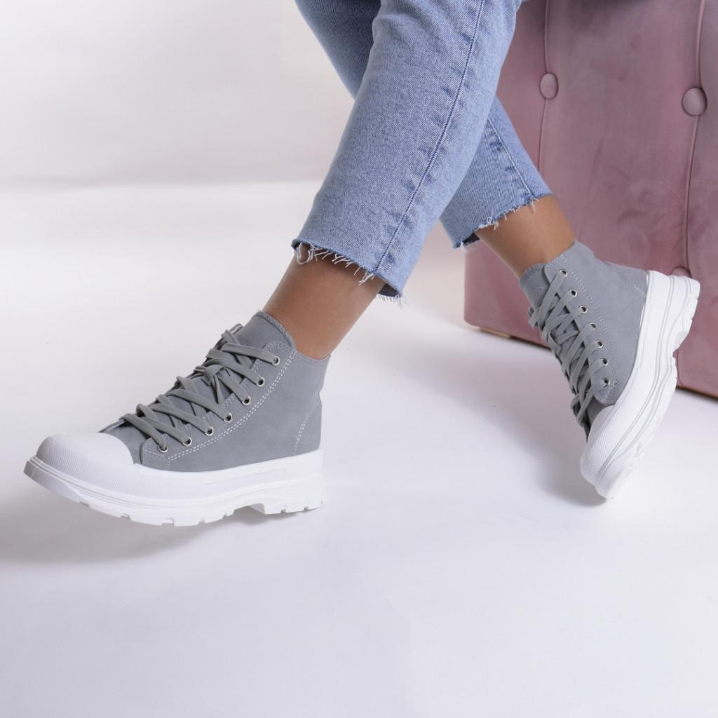 Adidasi gri material textil Simbi