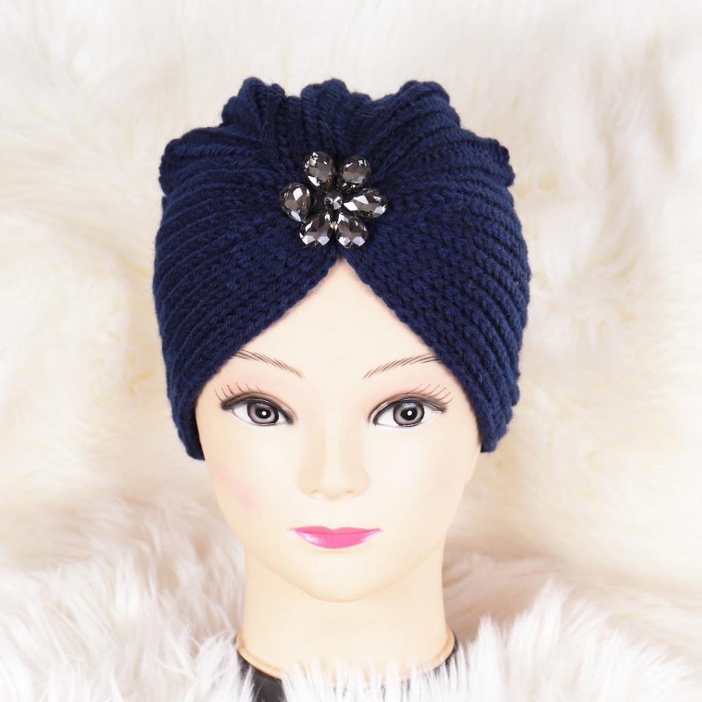 Caciula bleumarin tricotata stil turban Niki
