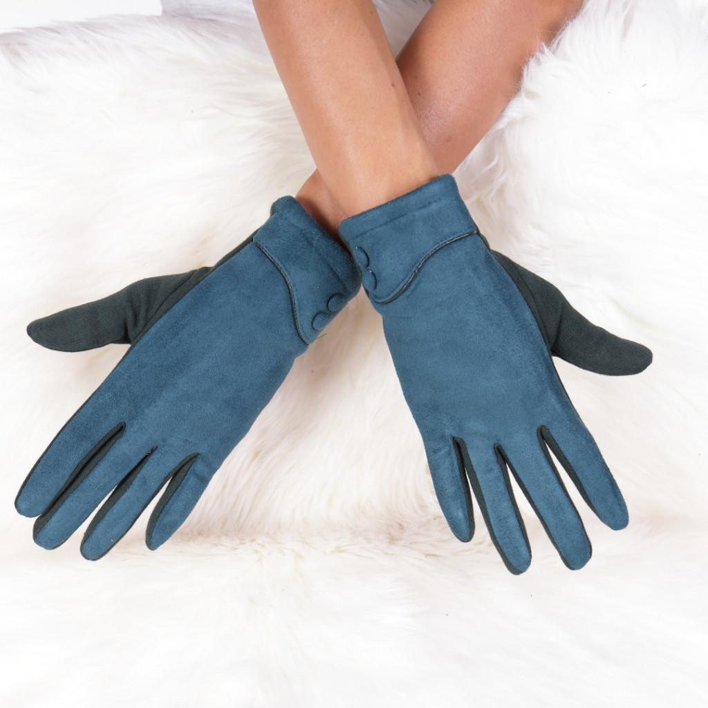Manusi albastre cu nasturi Petal
