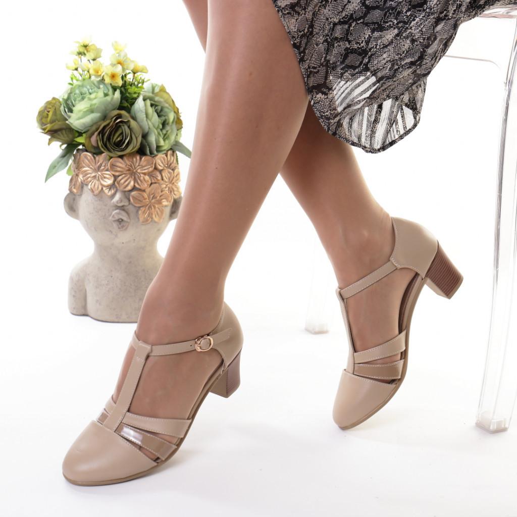 Pantofi bej piele ecologica Manola
