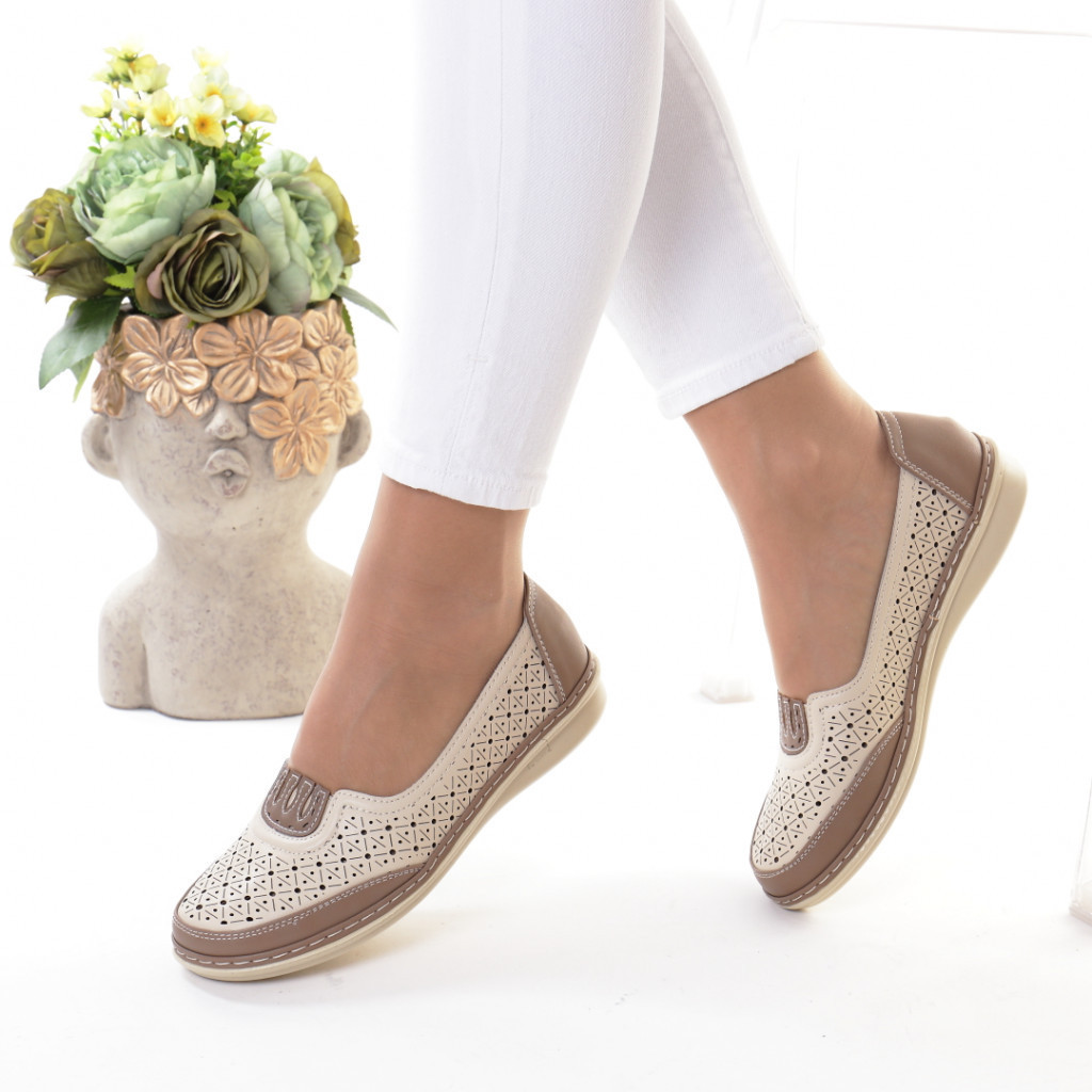 Pantofi bej piele ecologica Notera