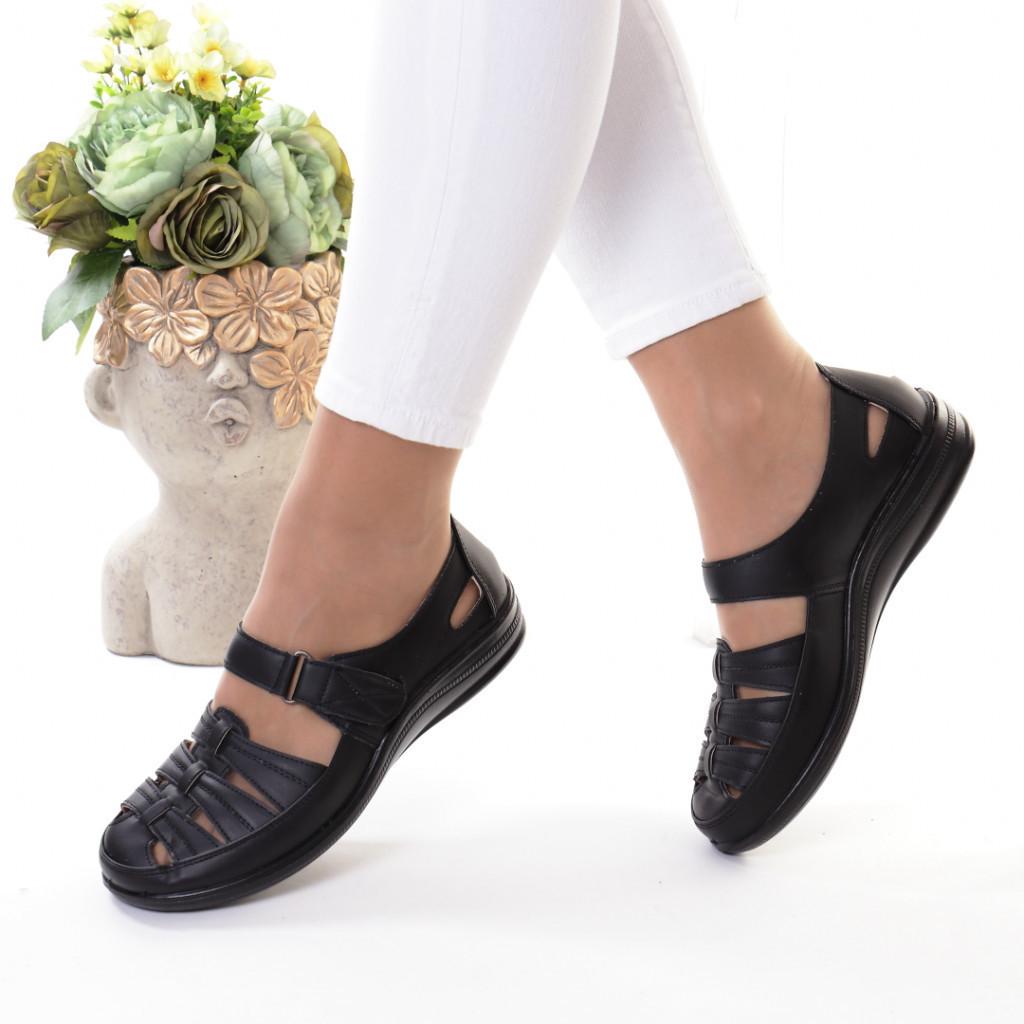 Pantofi negri piele ecologica Florena