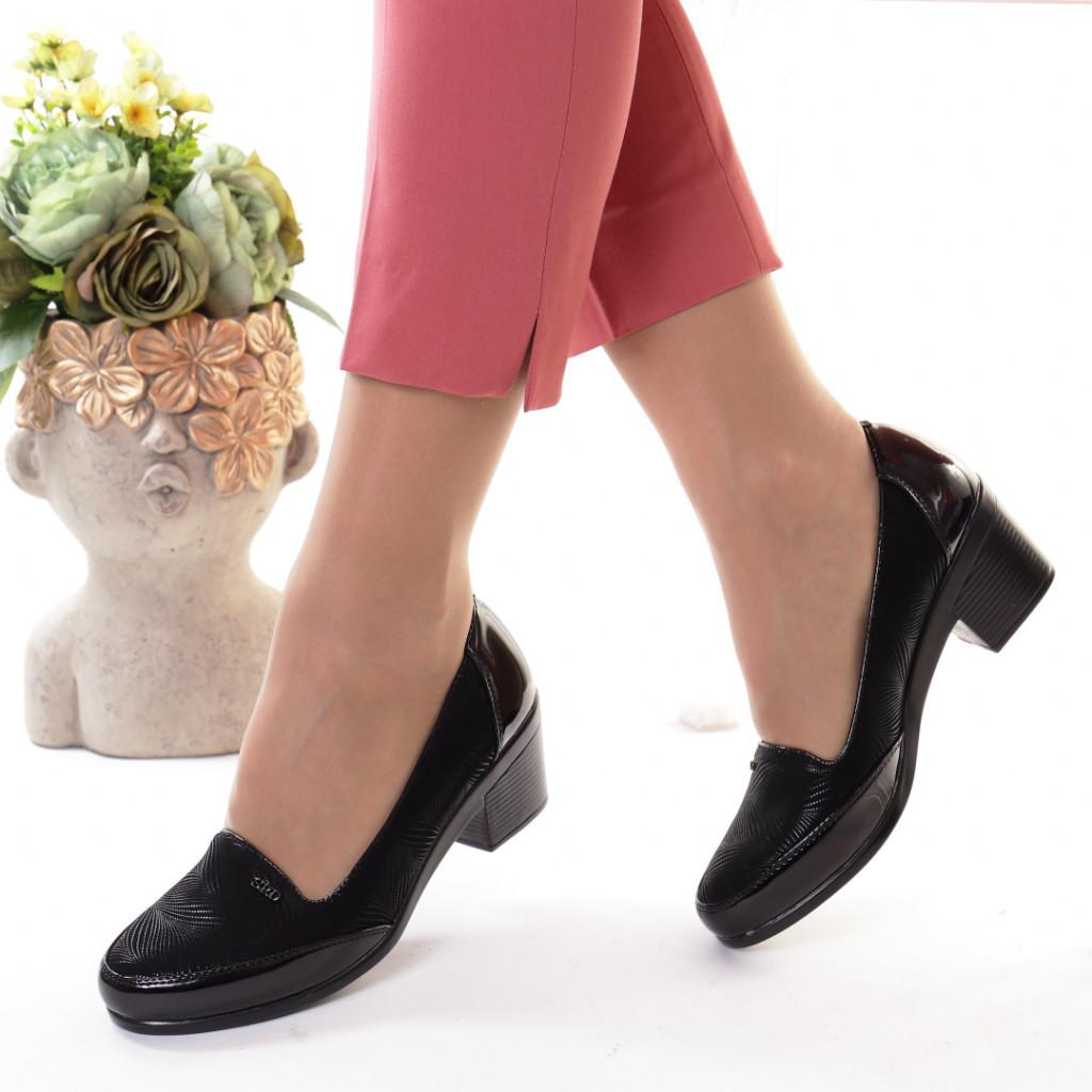 Pantofi negri piele ecologica Tarika