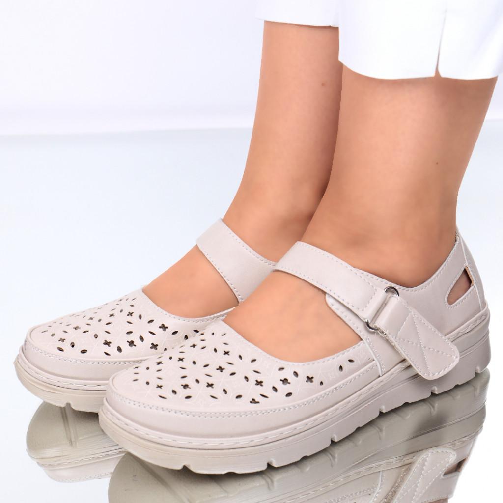 Pantofi piele ecologica bej Noa