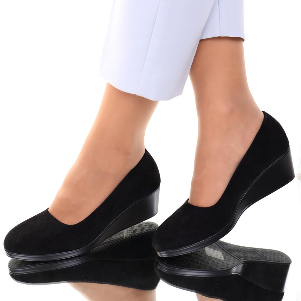 Pantofi piele ecologica intoarsa negri Sarai