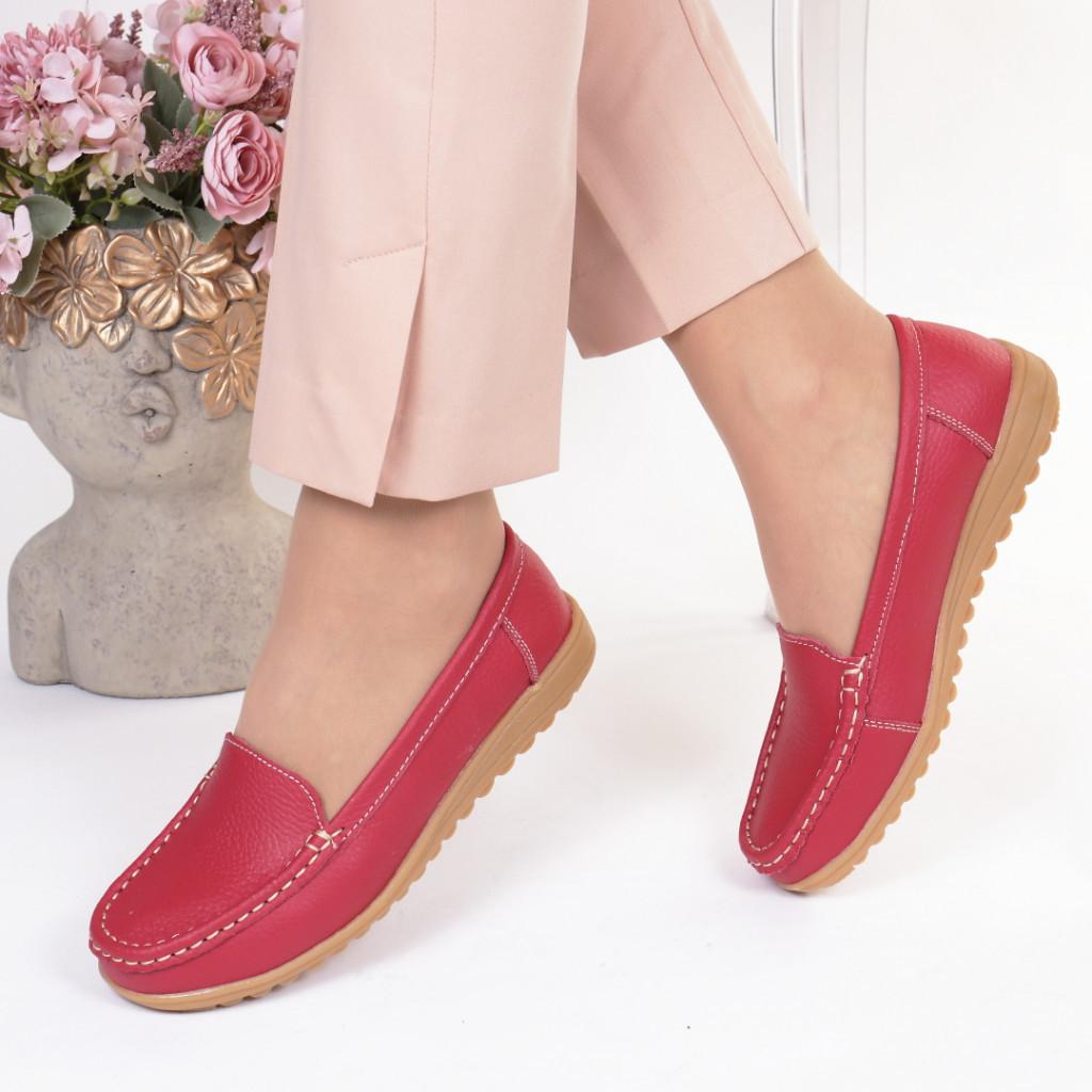Pantofi rosi piele naturala Dariana