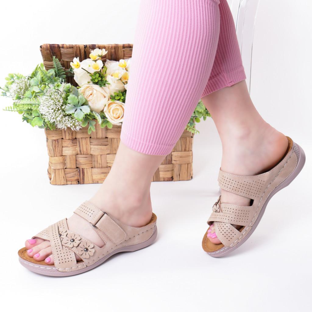 Papuci bej piele ecologica Gevira