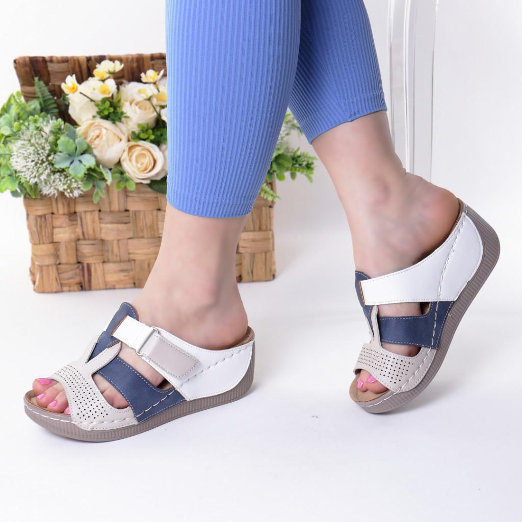 Papuci blue piele ecologica Devira