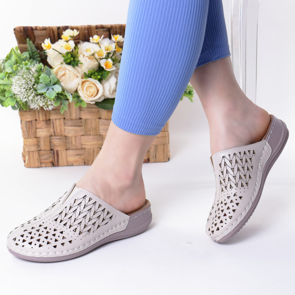 Papuci crem piele ecologica Steluta