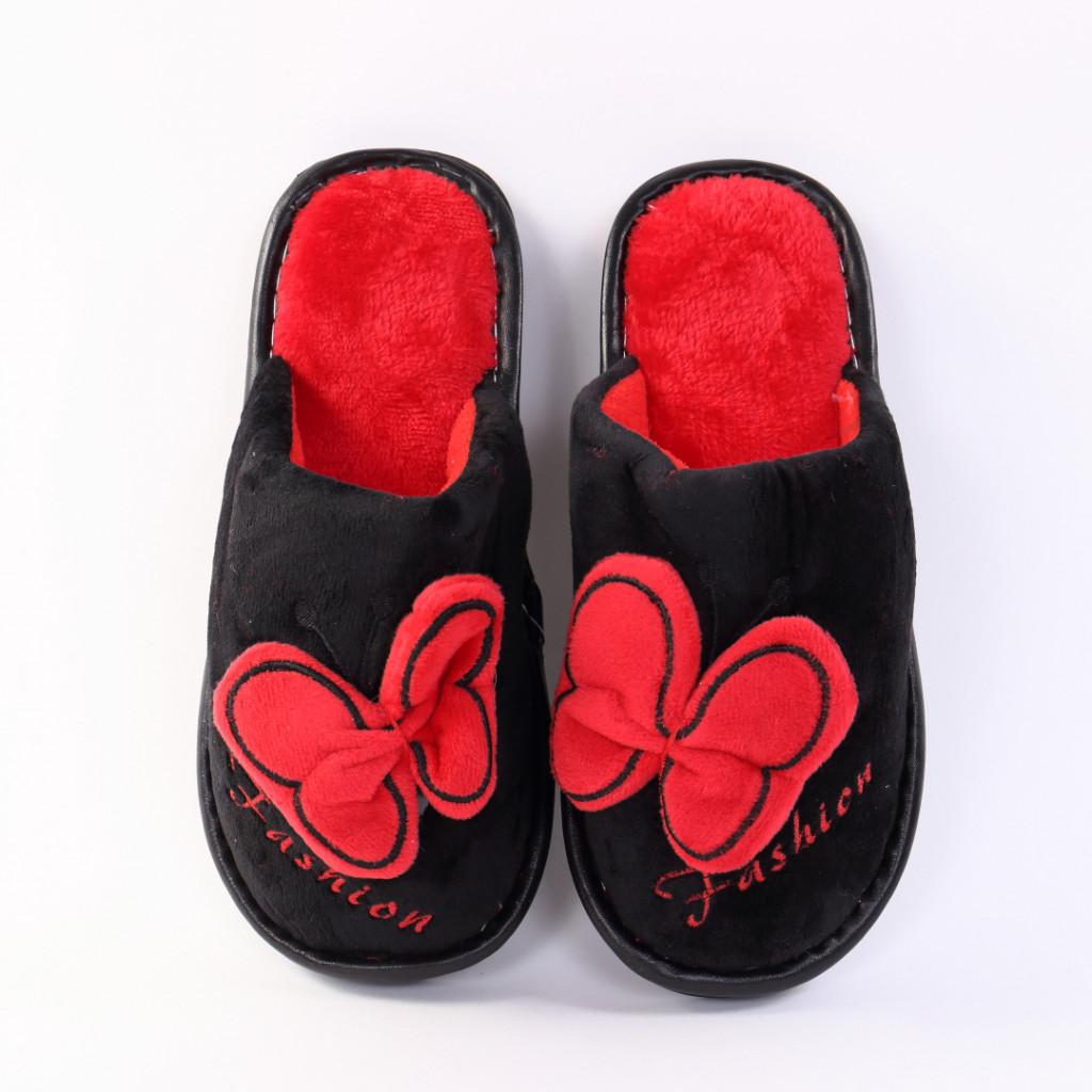 Papuci cu fluture negru cu rosu Enia