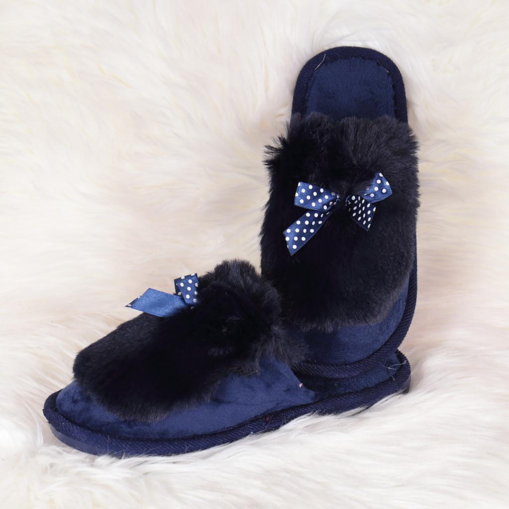 Papuci de casa bleumarin cu fundita si puf Hatia