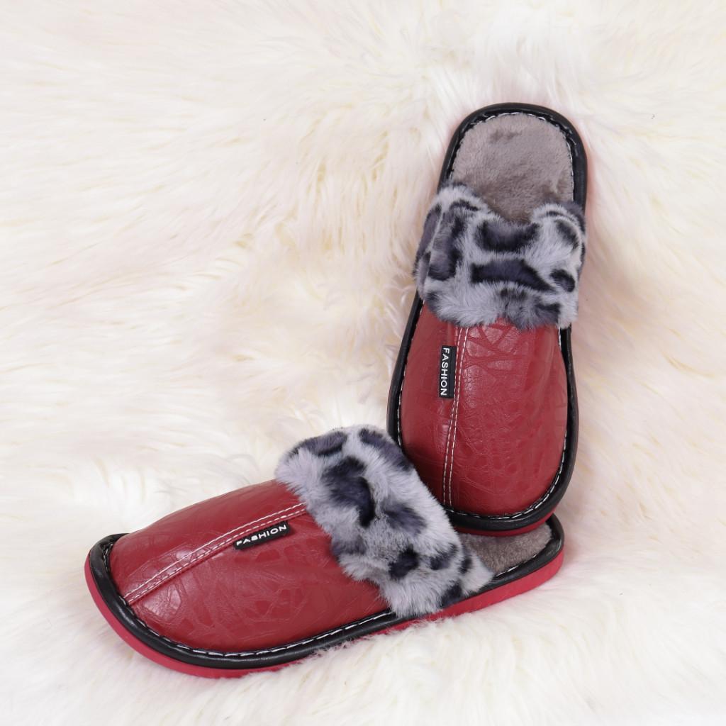 Papuci de casa cu blanita rosi Silva