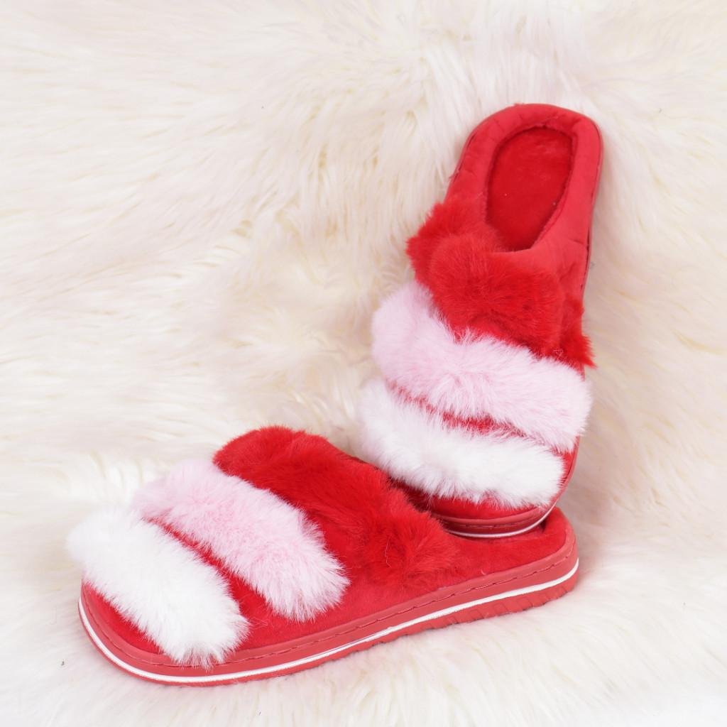 Papuci de casa cu dungi rosii Caly