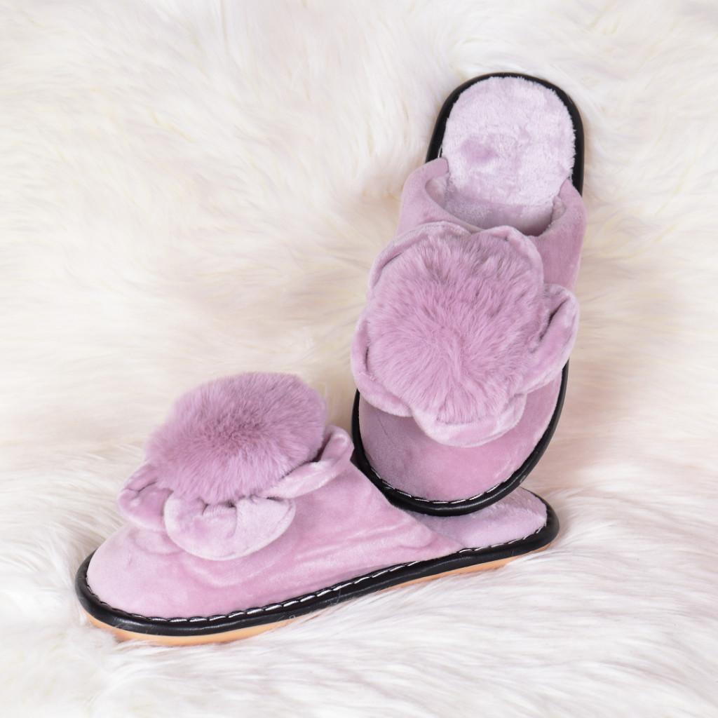 Papuci de casa lila cu floare si puf Sevila
