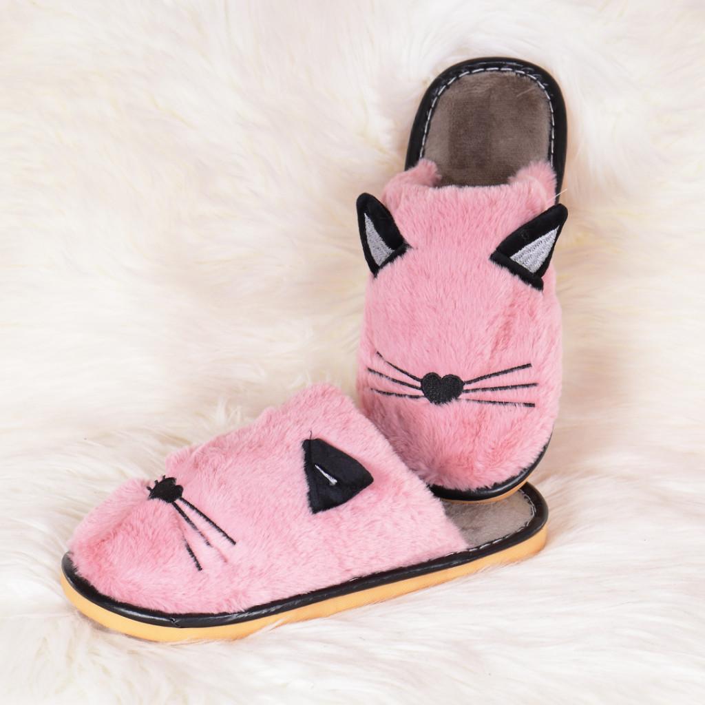 Papuci de casa roz cu pisica Mita