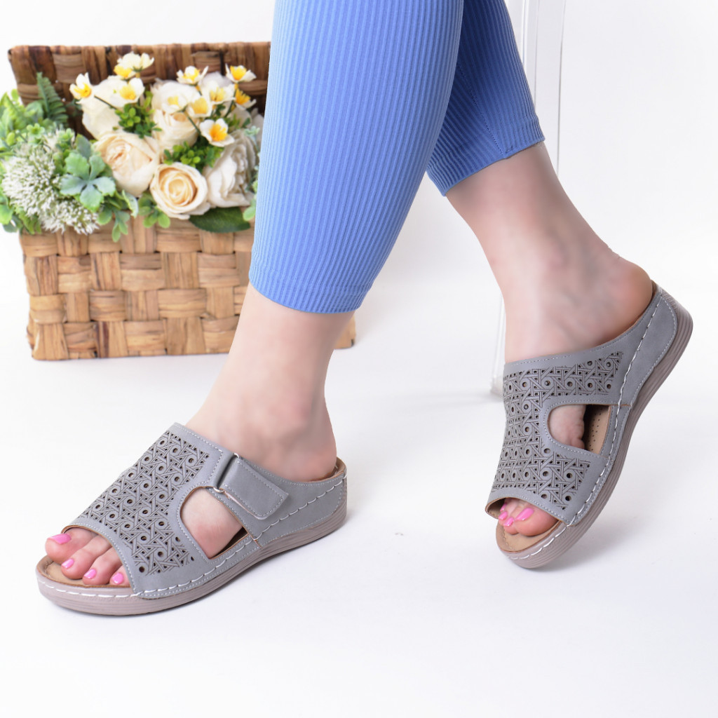 Papuci gri piele ecologica Orna