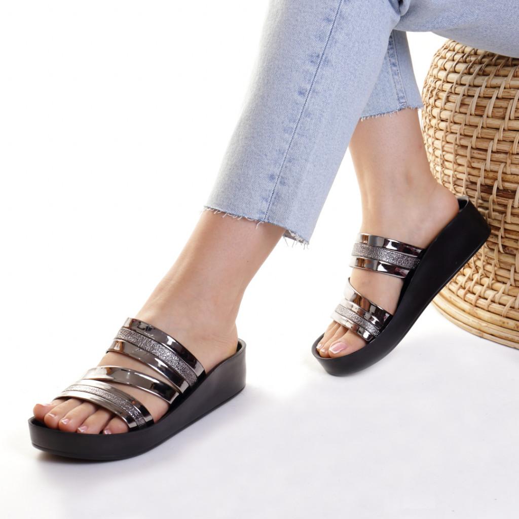 Papuci piele ecologica argintii Casilda
