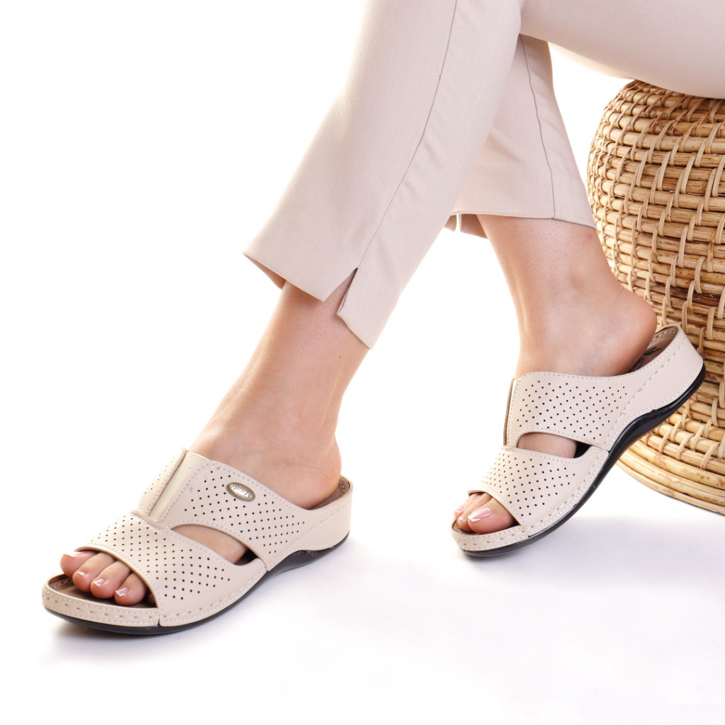 Papuci piele ecologica bej Esfira