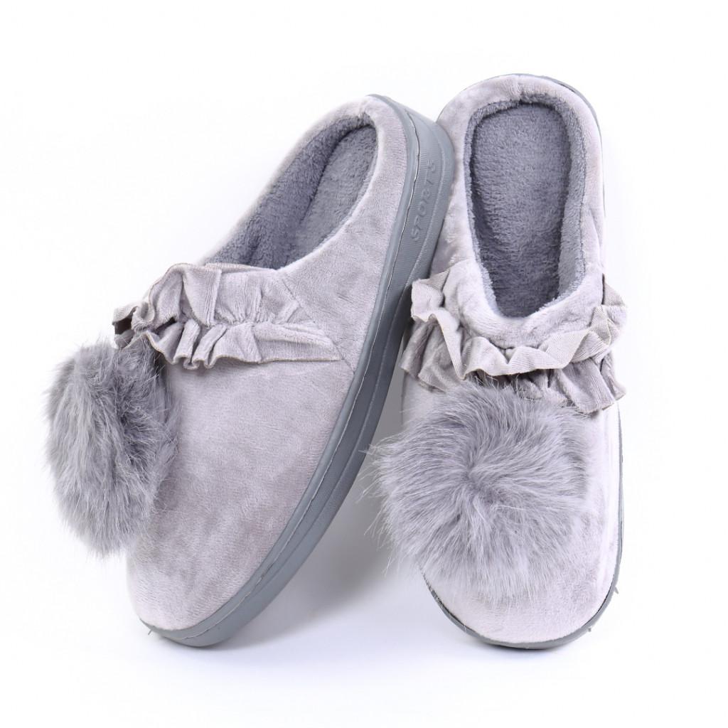 Papuci pufosi gri Miri