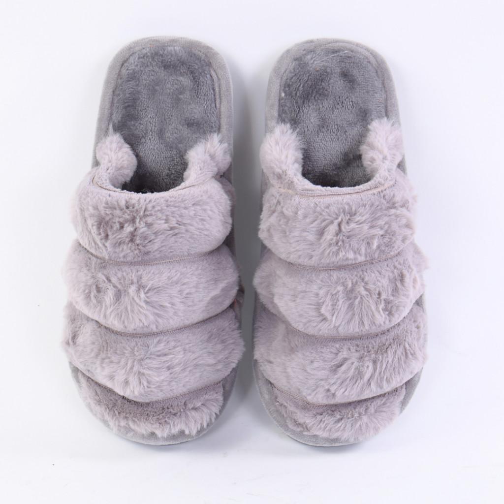Papuci pufosi gri Sonaia